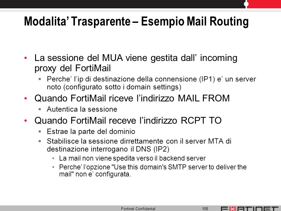 Modalita' Trasparente – Esempio Mail Routing