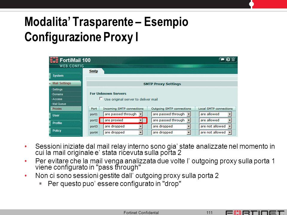 Modalita' Trasparente – Esempio Configurazione Proxy I