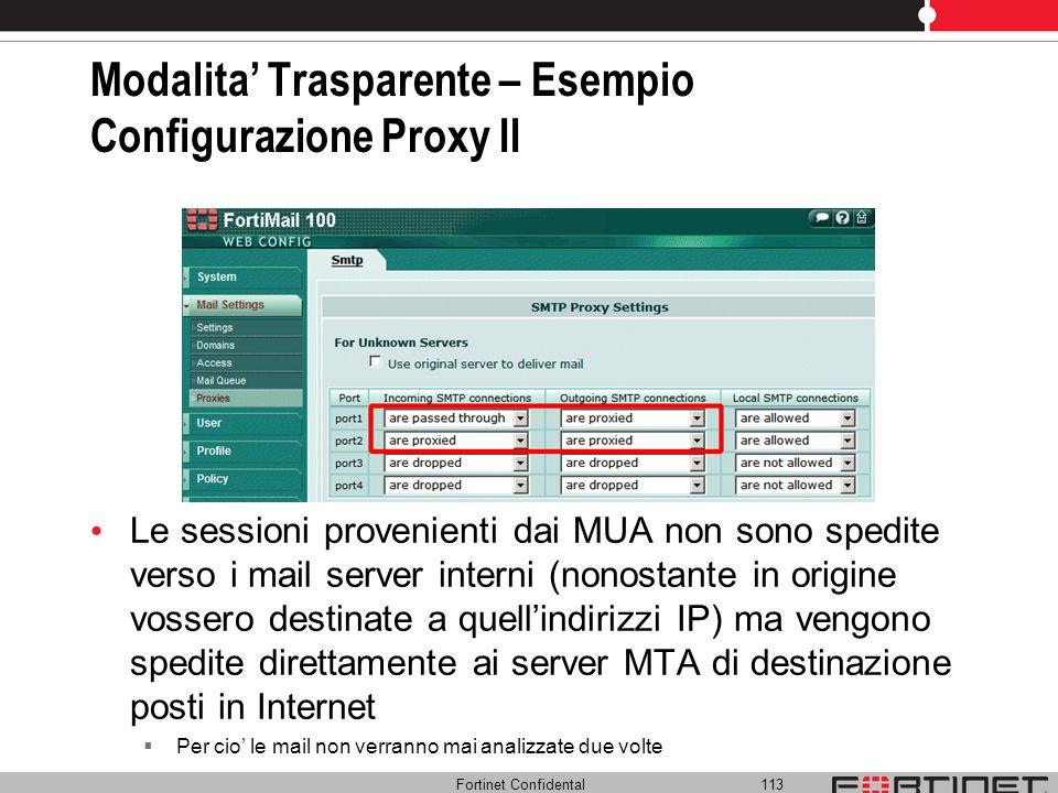 Modalita' Trasparente – Esempio Configurazione Proxy II