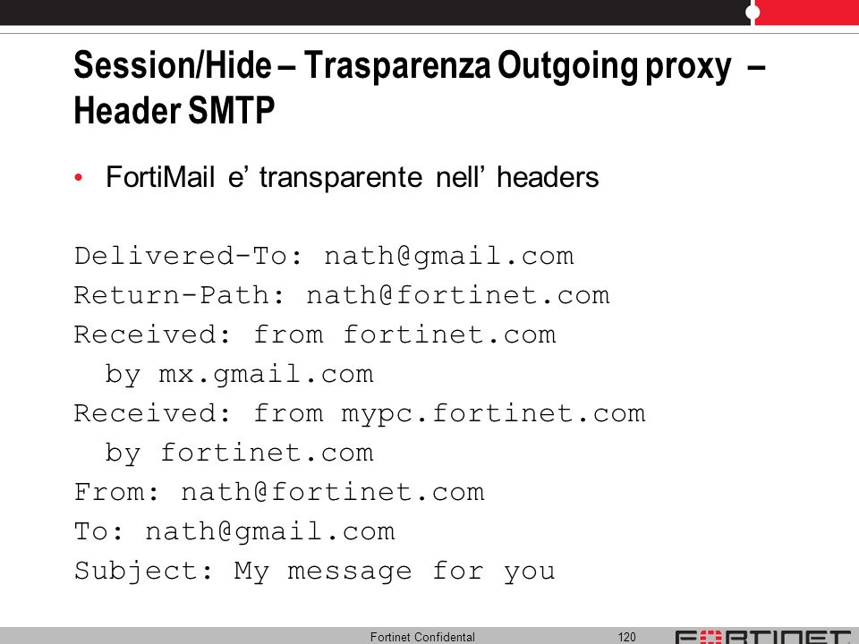 Session/Hide – Trasparenza Outgoing proxy – Header SMTP