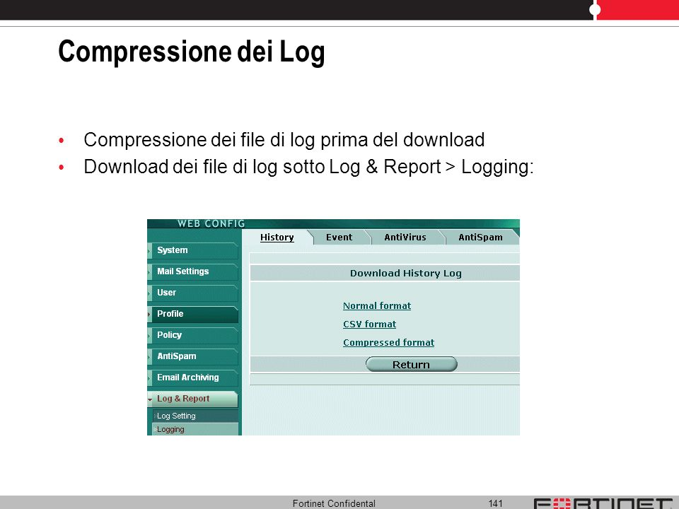Compressione dei Log Compressione dei file di log prima del download