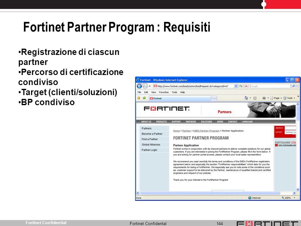 Fortinet Partner Program : Requisiti