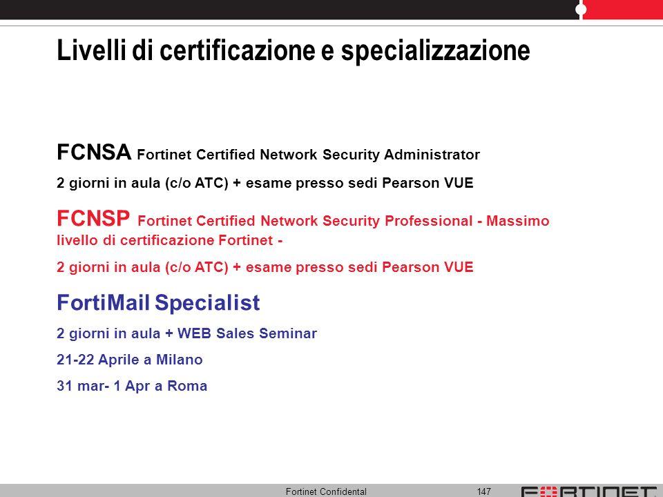Livelli di certificazione e specializzazione