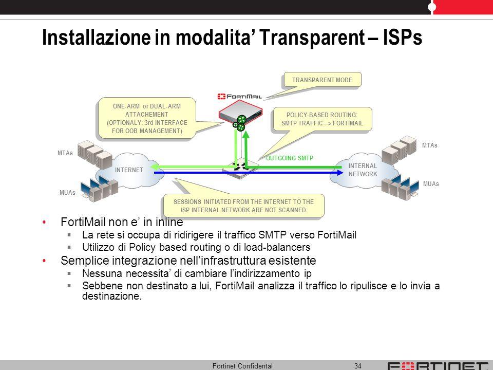 Installazione in modalita' Transparent – ISPs