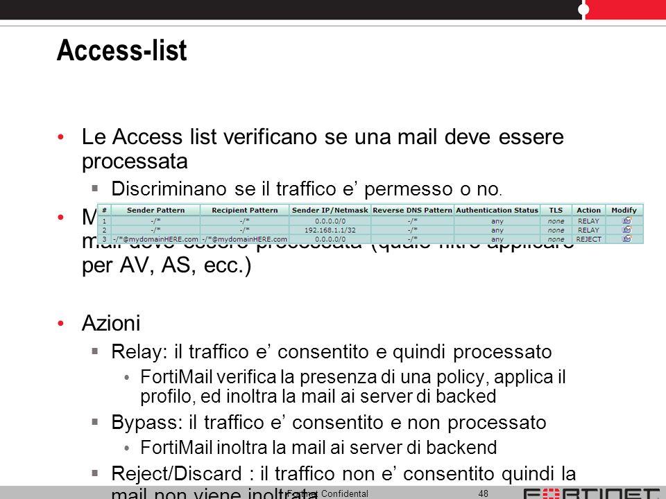 Access-list Le Access list verificano se una mail deve essere processata. Discriminano se il traffico e' permesso o no.