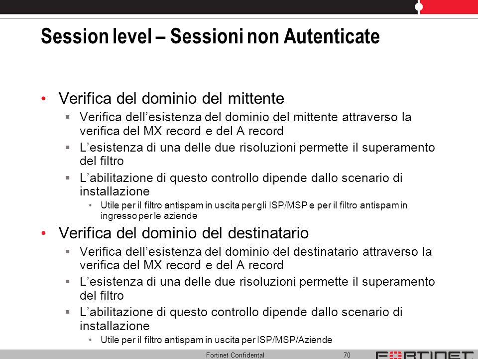 Session level – Sessioni non Autenticate