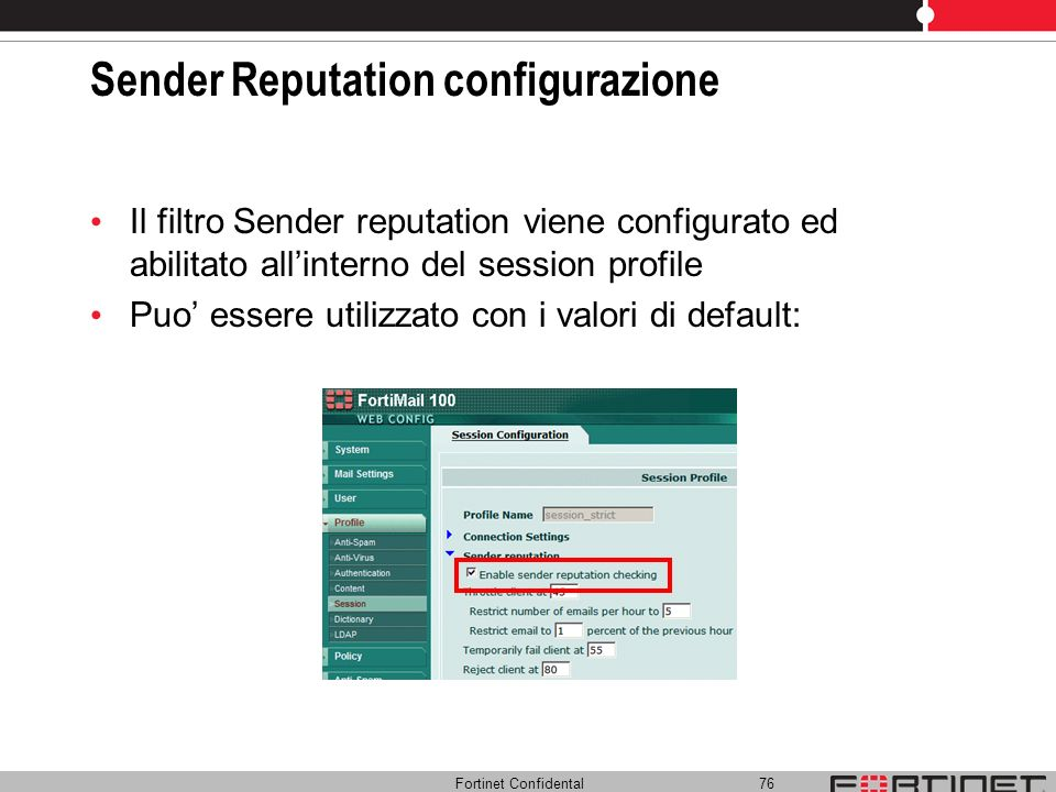 Sender Reputation configurazione