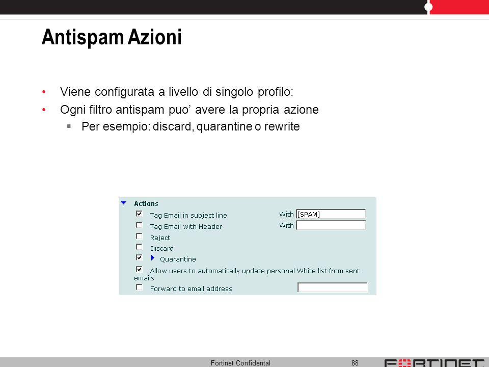 Antispam Azioni Viene configurata a livello di singolo profilo: