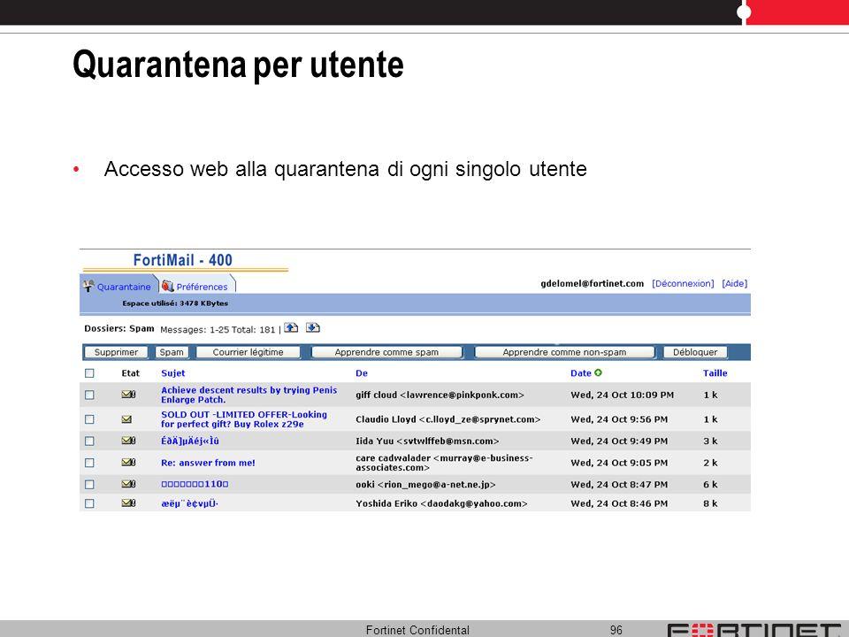 Quarantena per utente Accesso web alla quarantena di ogni singolo utente. Possibilita' di personalizzare la configurazione per la quarantena utente.