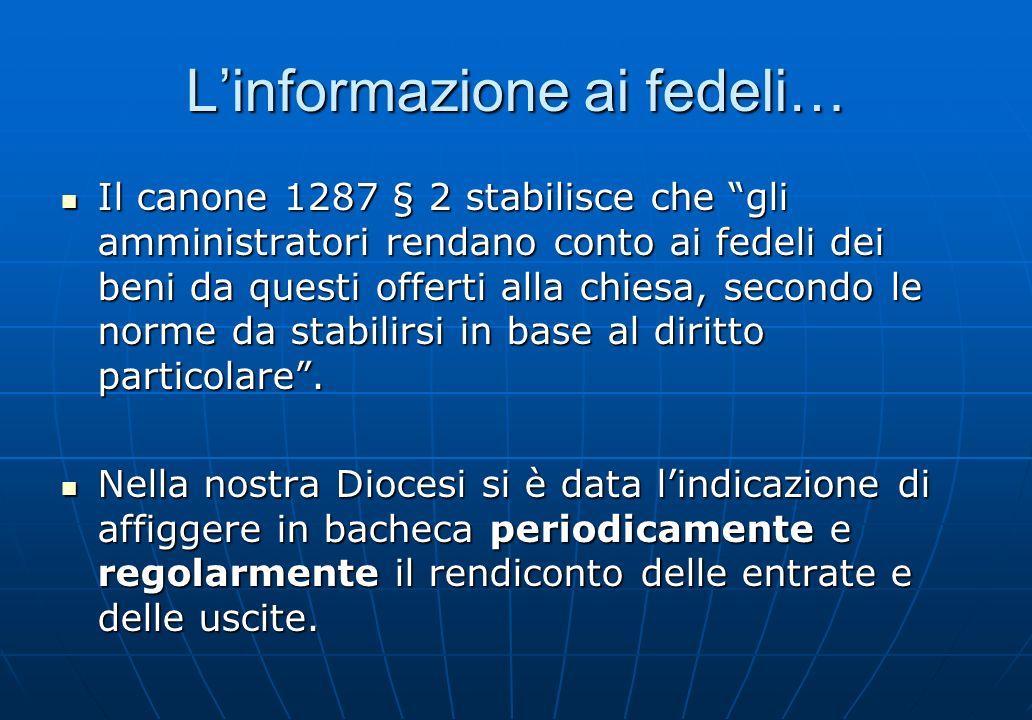L'informazione ai fedeli…
