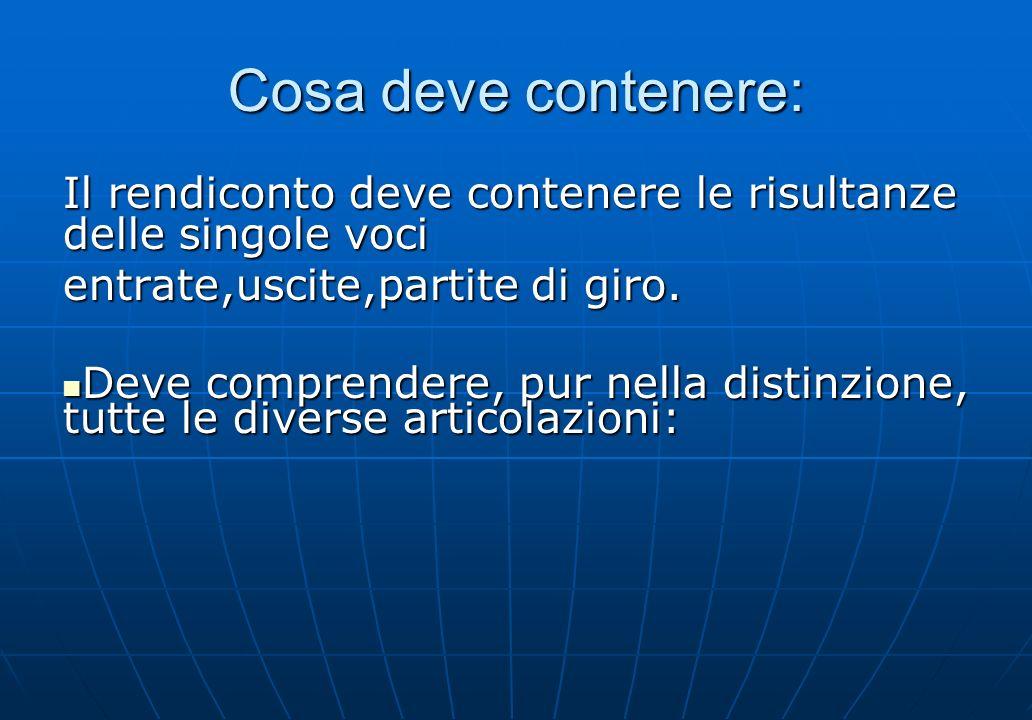 Cosa deve contenere: Il rendiconto deve contenere le risultanze delle singole voci. entrate,uscite,partite di giro.