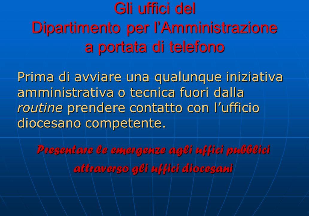 Gli uffici del Dipartimento per l'Amministrazione a portata di telefono
