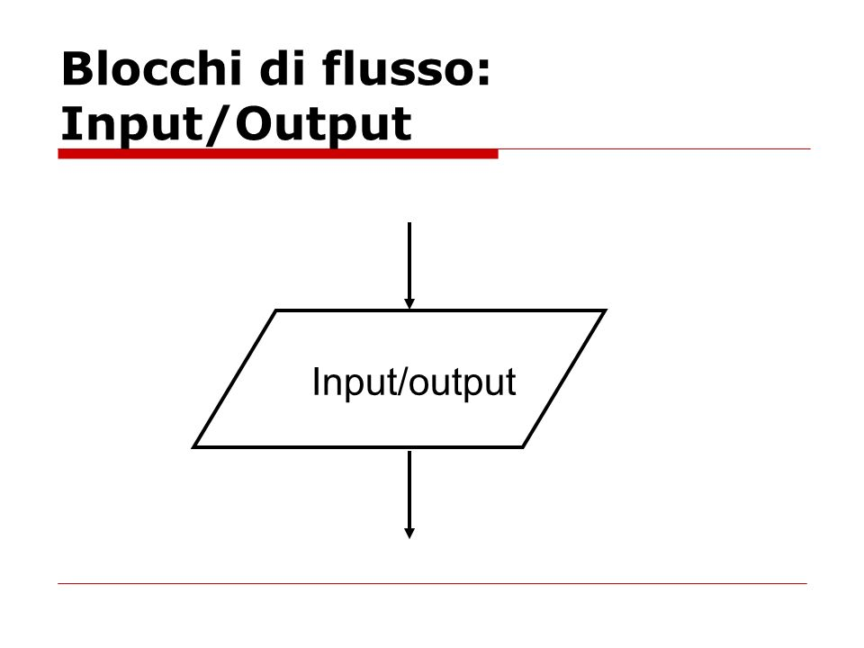 Blocchi di flusso: Input/Output