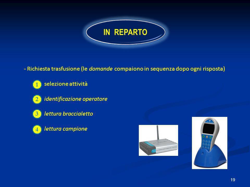 IN REPARTO 2 - Richiesta trasfusione (le domande compaiono in sequenza dopo ogni risposta) selezione attività.