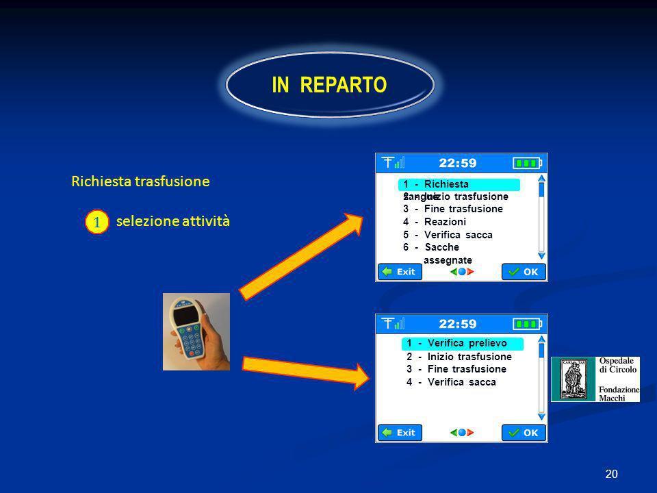 IN REPARTO 2 - Richiesta trasfusione selezione attività 1