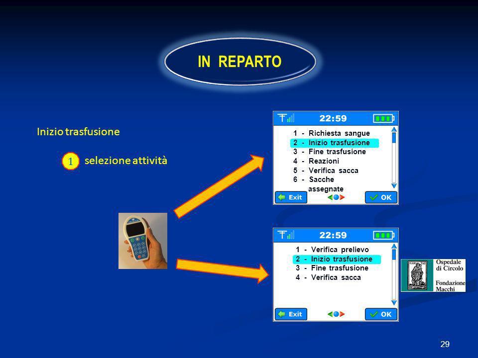 IN REPARTO Inizio trasfusione selezione attività 1