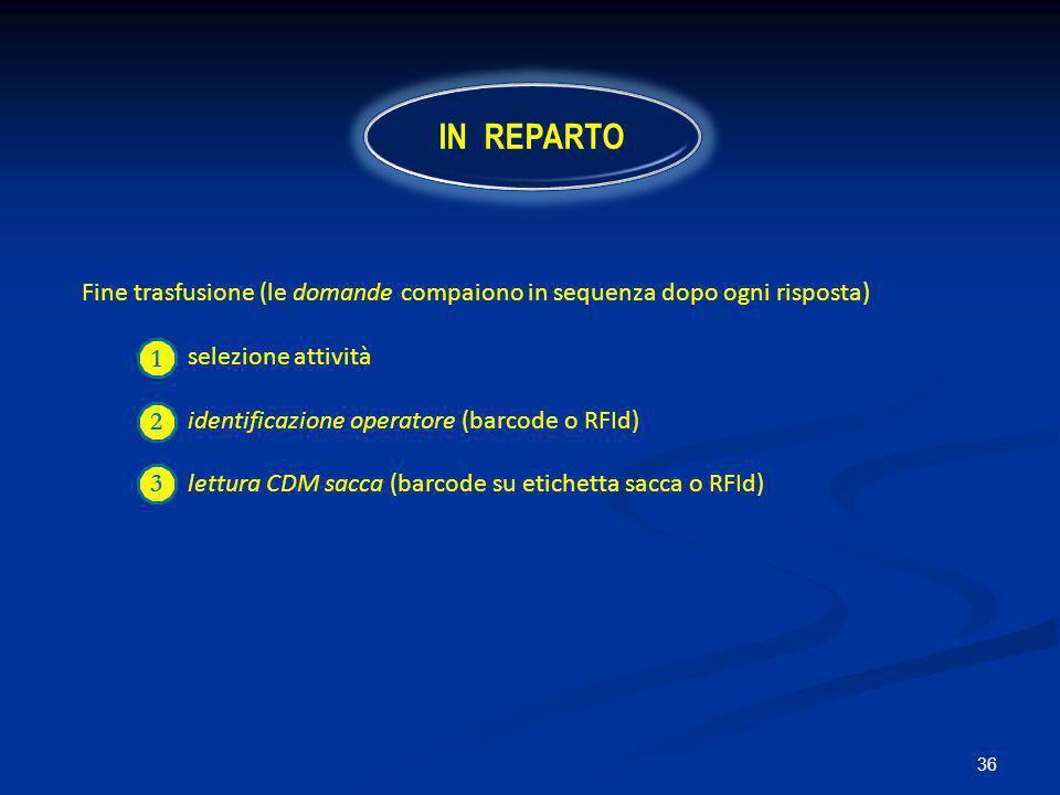 IN REPARTO Fine trasfusione (le domande compaiono in sequenza dopo ogni risposta) selezione attività.