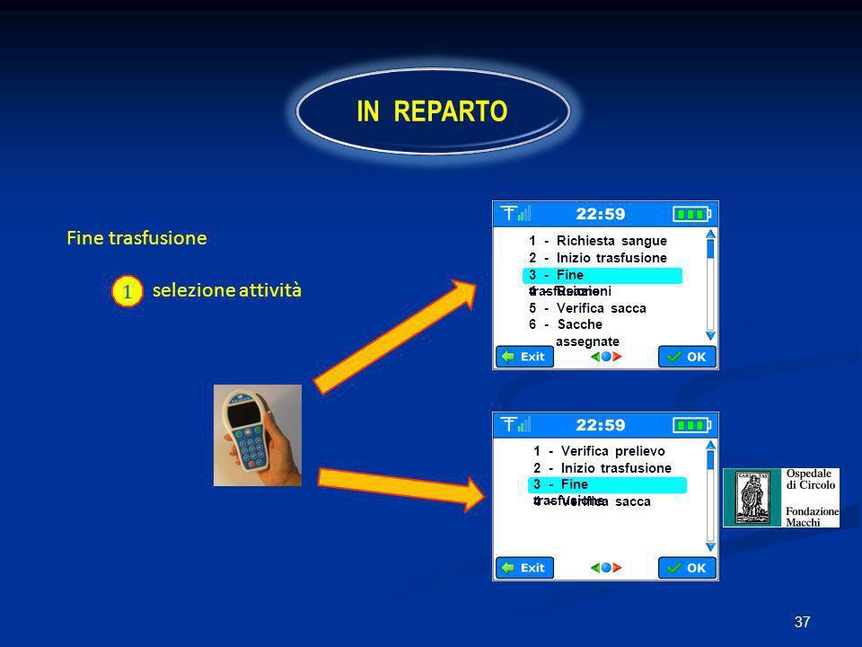 IN REPARTO Fine trasfusione selezione attività 1 1 - Richiesta sangue