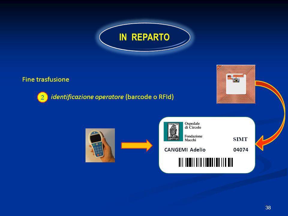 IN REPARTO Fine trasfusione identificazione operatore (barcode o RFId)