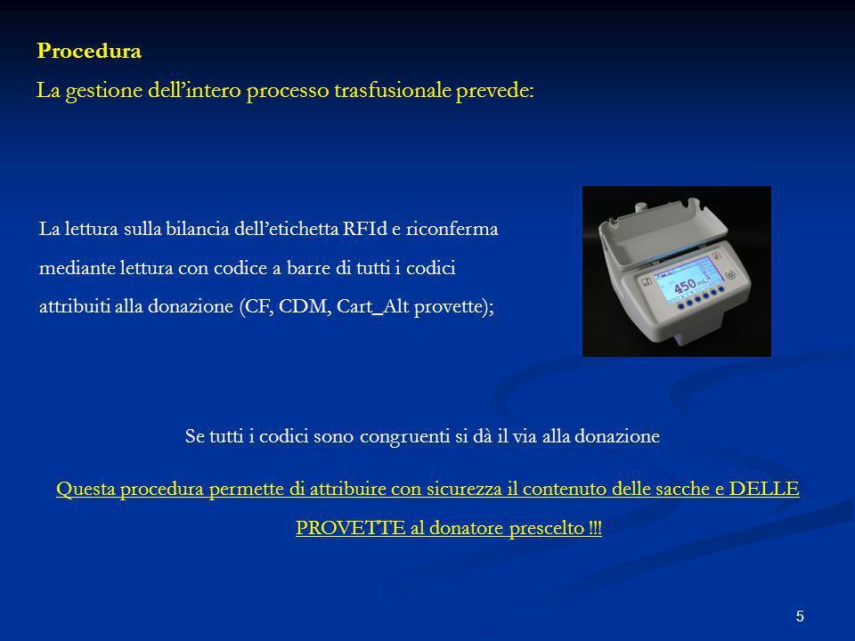 La gestione dell'intero processo trasfusionale prevede: