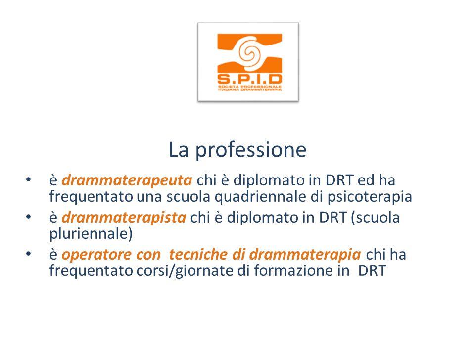La professione è drammaterapeuta chi è diplomato in DRT ed ha frequentato una scuola quadriennale di psicoterapia.