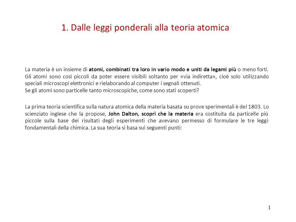 1. Dalle leggi ponderali alla teoria atomica