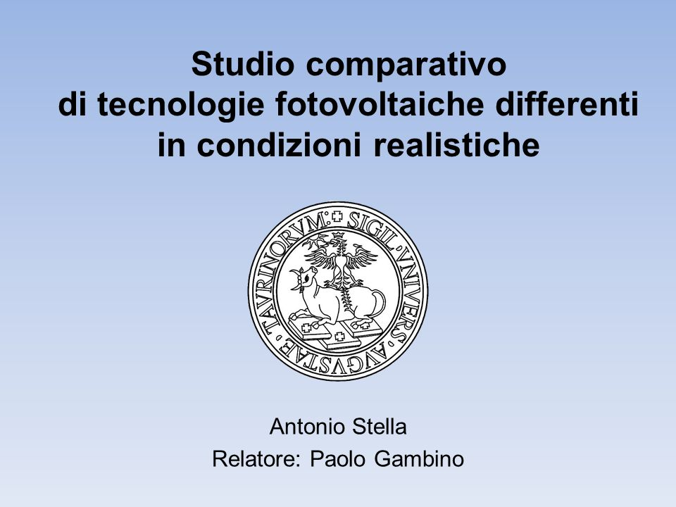 Antonio Stella Relatore: Paolo Gambino