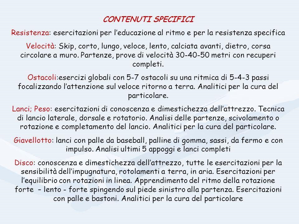 CONTENUTI SPECIFICI Resistenza: esercitazioni per l'educazione al ritmo e per la resistenza specifica.