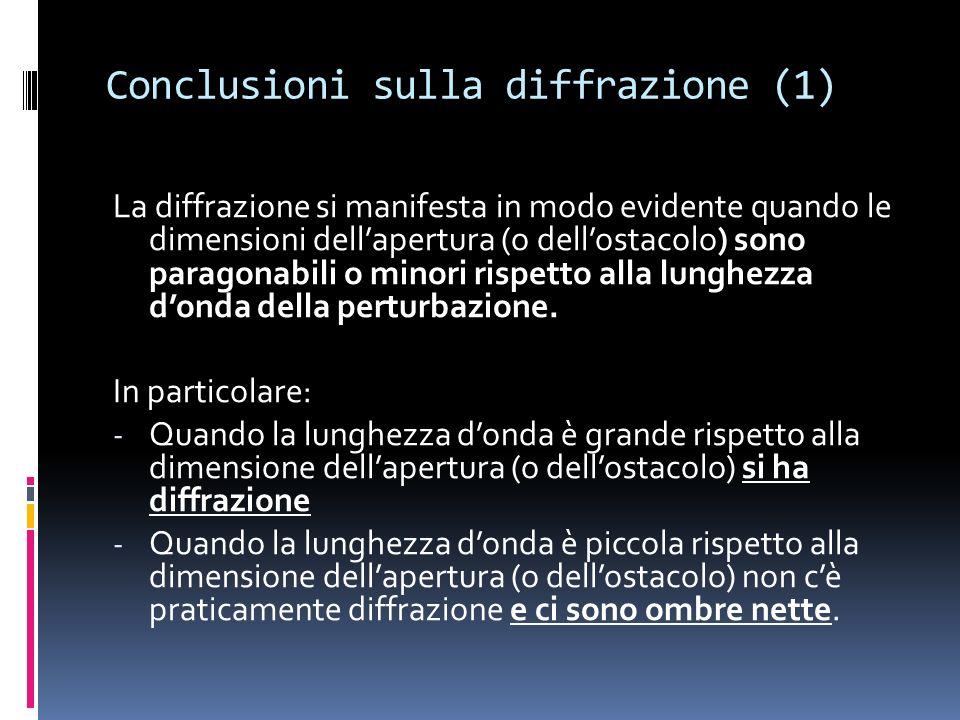Conclusioni sulla diffrazione (1)