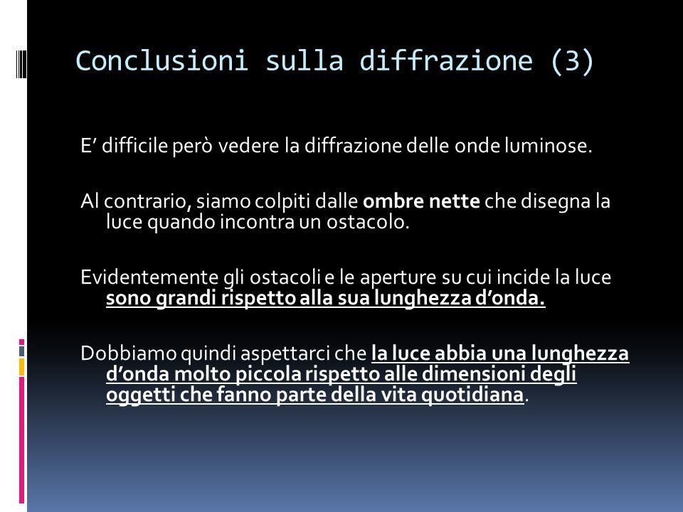 Conclusioni sulla diffrazione (3)
