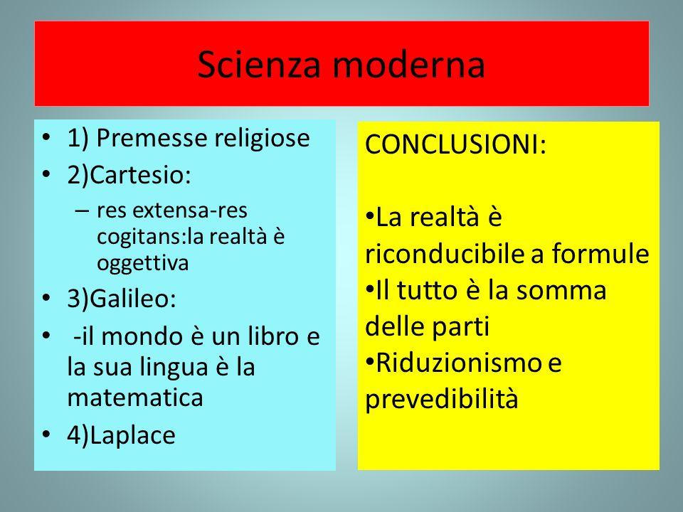 Scienza moderna CONCLUSIONI: La realtà è riconducibile a formule