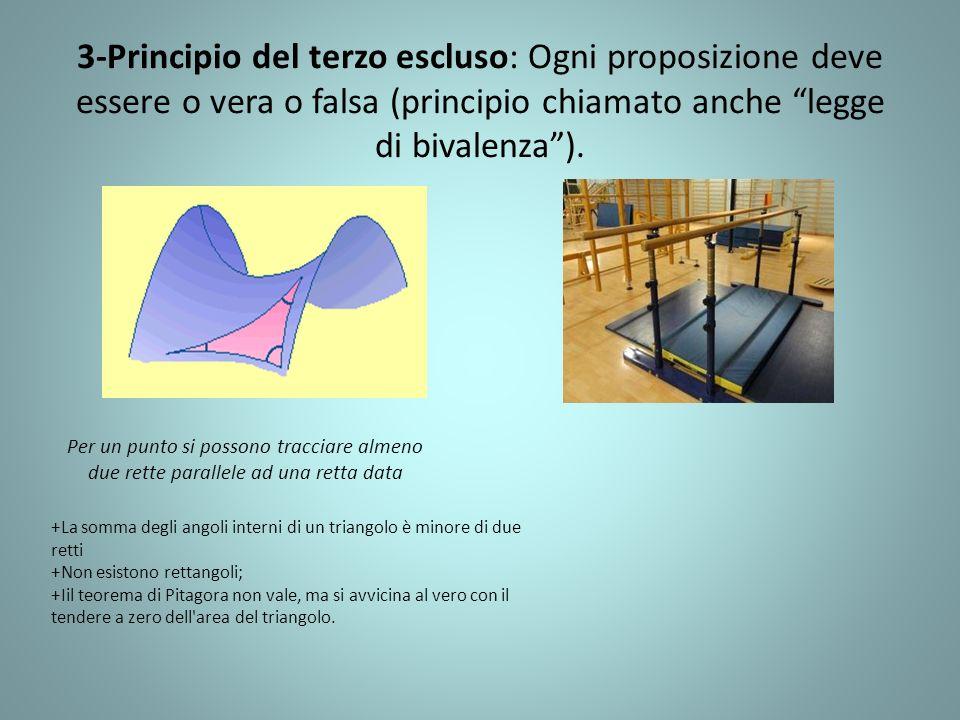 3-Principio del terzo escluso: Ogni proposizione deve essere o vera o falsa (principio chiamato anche legge di bivalenza ).