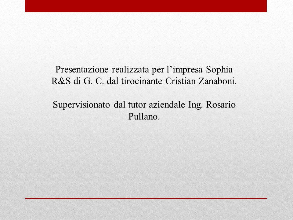 Supervisionato dal tutor aziendale Ing. Rosario Pullano.