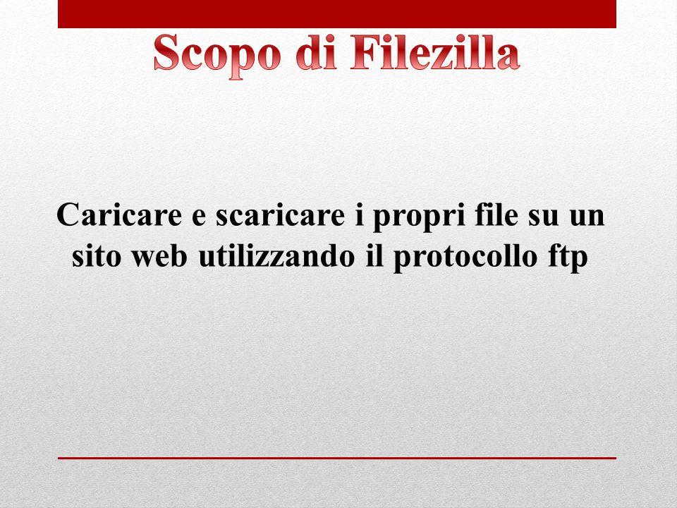 Scopo di Filezilla Caricare e scaricare i propri file su un sito web utilizzando il protocollo ftp