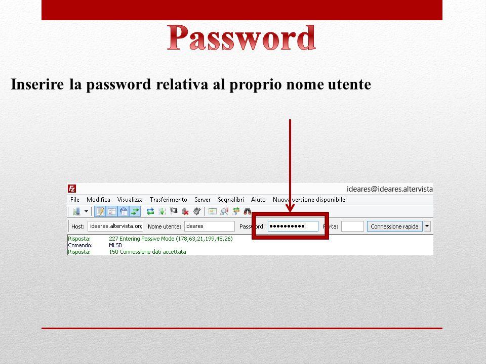 Password Inserire la password relativa al proprio nome utente