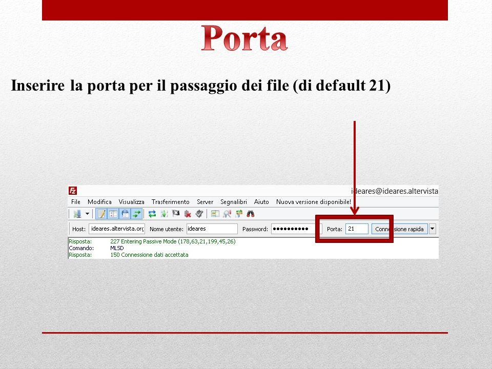 Porta Inserire la porta per il passaggio dei file (di default 21)