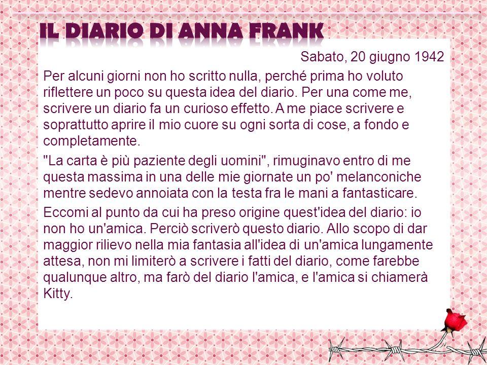 il diario di Anna Frank Sabato, 20 giugno 1942