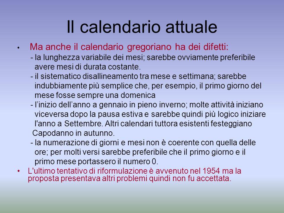Il calendario attuale Ma anche il calendario gregoriano ha dei difetti: - la lunghezza variabile dei mesi; sarebbe ovviamente preferibile.