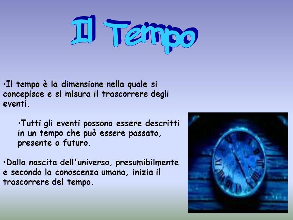 Il Tempo Il tempo è la dimensione nella quale si concepisce e si misura il trascorrere degli eventi.