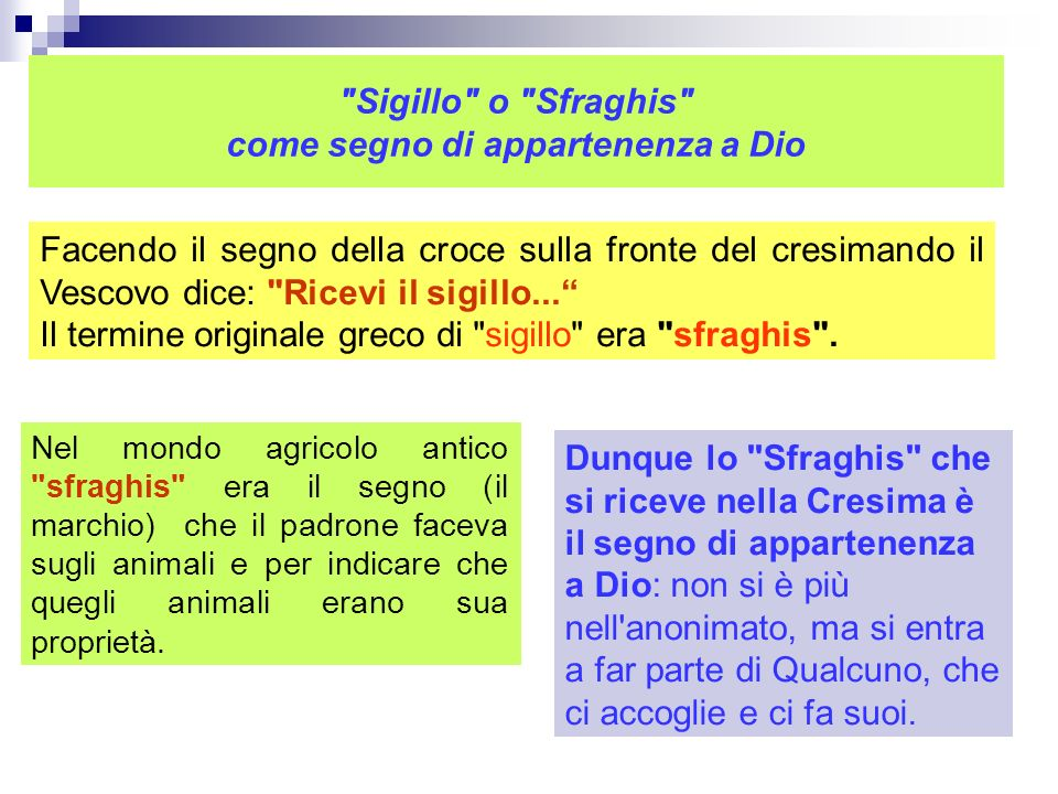 Sigillo o Sfraghis come segno di appartenenza a Dio