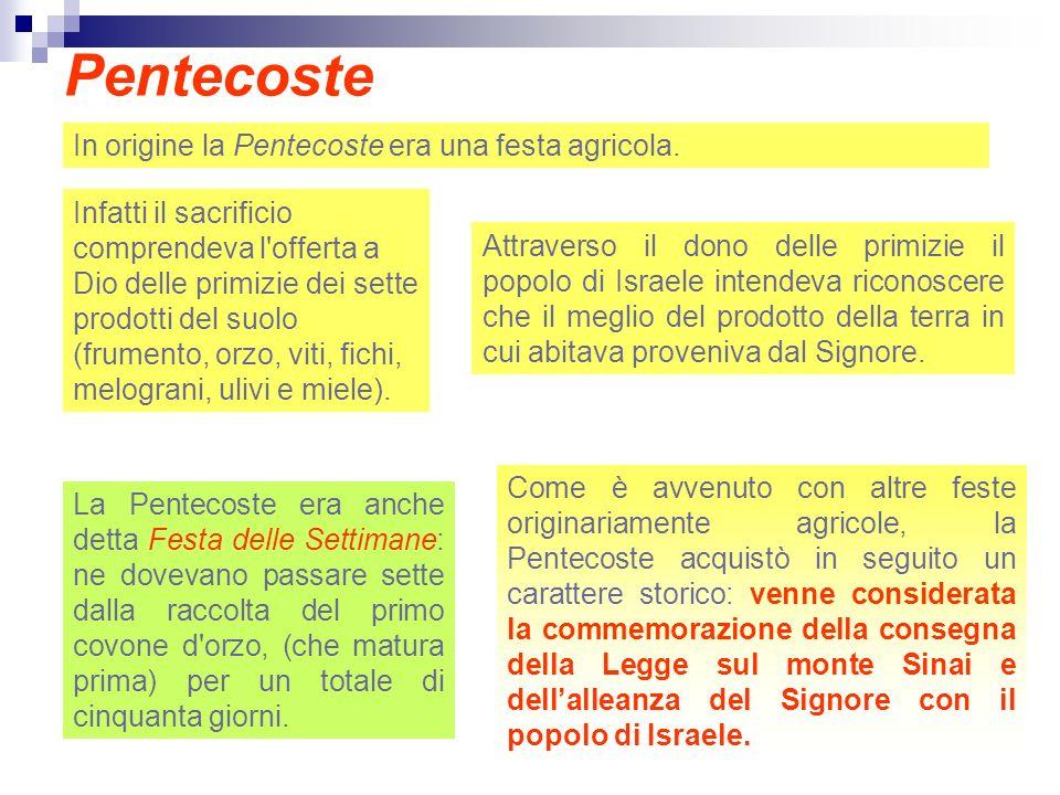 Pentecoste In origine la Pentecoste era una festa agricola.