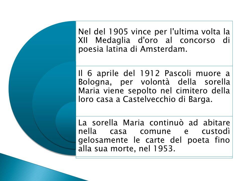 Nel del 1905 vince per l ultima volta la XII Medaglia d oro al concorso di poesia latina di Amsterdam.