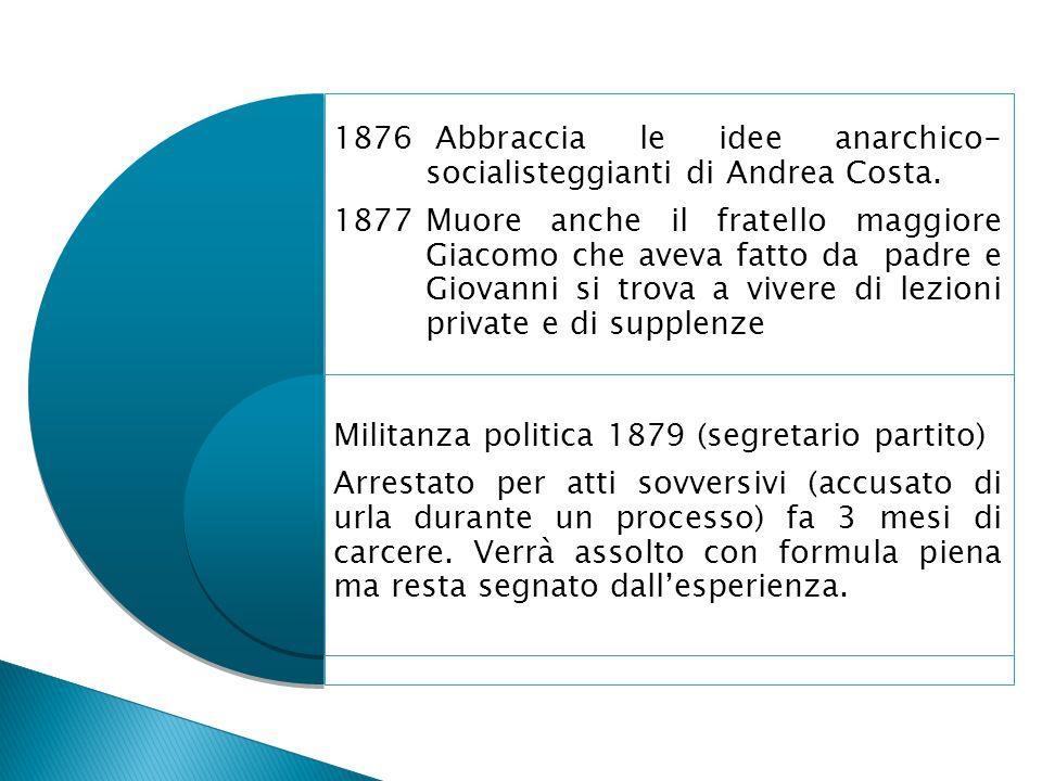 Abbraccia le idee anarchico- socialisteggianti di Andrea Costa.