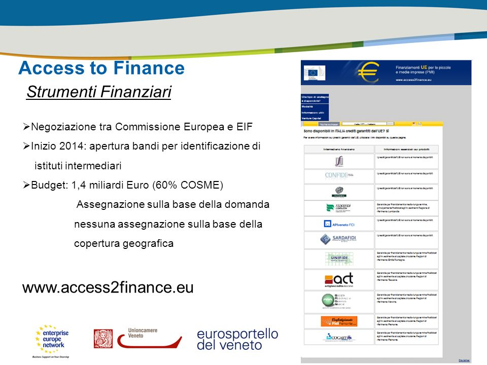 Access to Finance Strumenti Finanziari www.access2finance.eu
