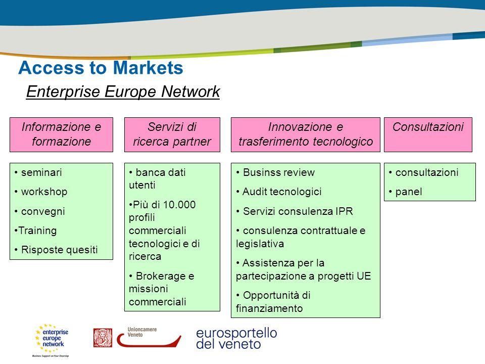 Access to Markets Enterprise Europe Network Informazione e formazione