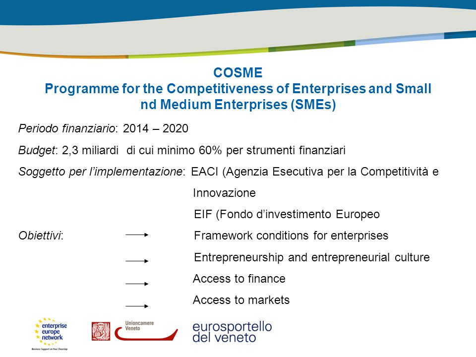 COSME Programme for the Competitiveness of Enterprises and Small nd Medium Enterprises (SMEs)