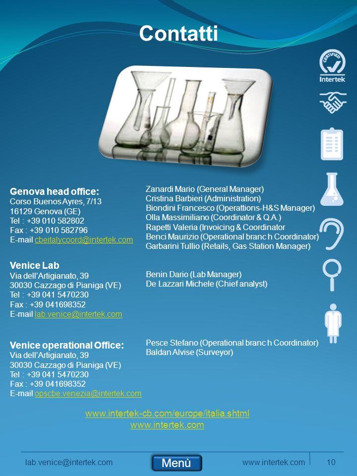 Contatti Menù Genova head office: Venice Lab