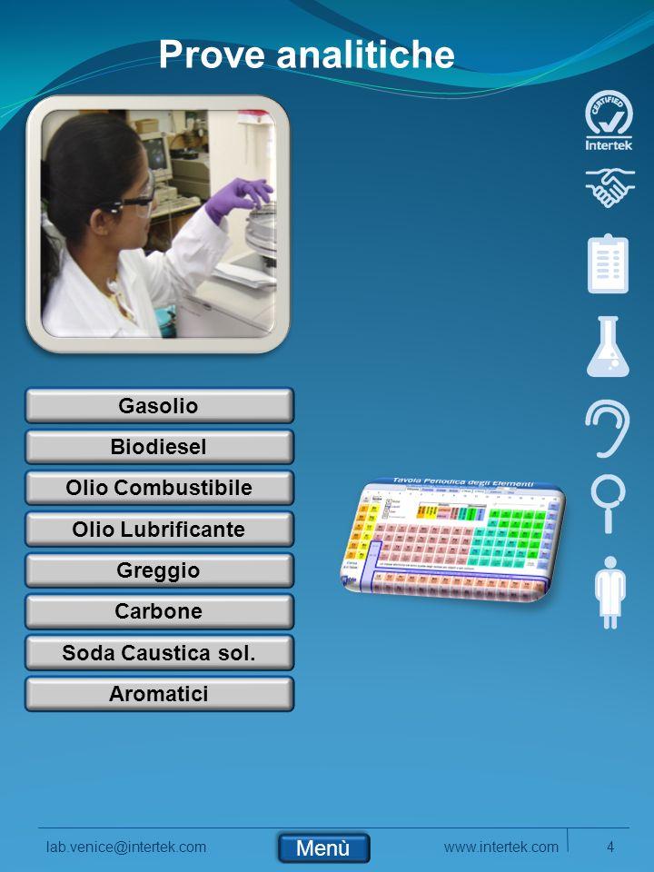 Prove analitiche Gasolio Biodiesel Olio Combustibile Olio Lubrificante