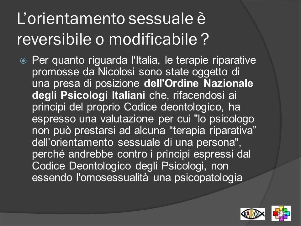 L'orientamento sessuale è reversibile o modificabile