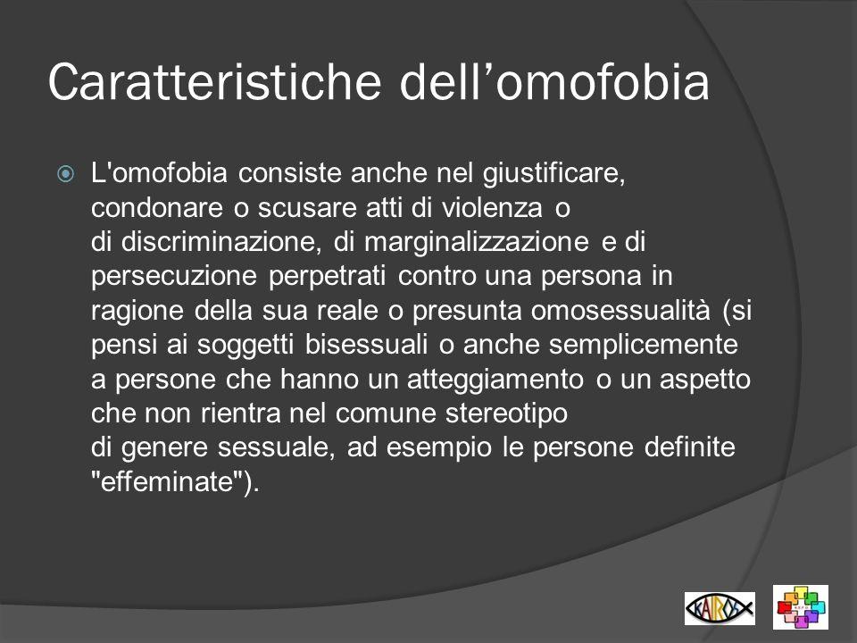 Caratteristiche dell'omofobia